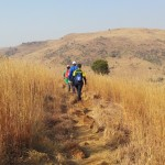 Hikers on a winter day in Suikerbosrand Nature Reserve, Gauteng